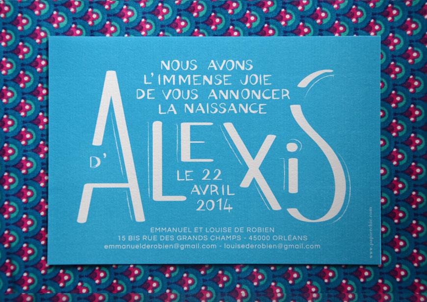 Faire-part Papier Chic modèle Alexis