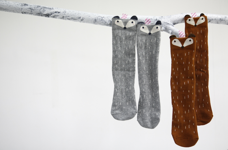 Chaussettes mini-dressing raccoon orange et gris