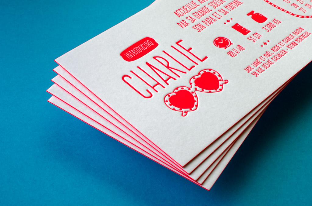 Faire-part de naissance - Letterpress, sous presse typographique - Charlie