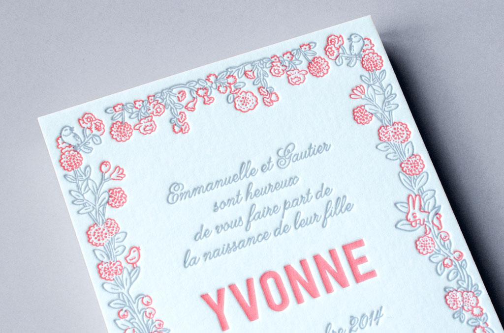 Faire-part de naissance Letterpress - Yvonne