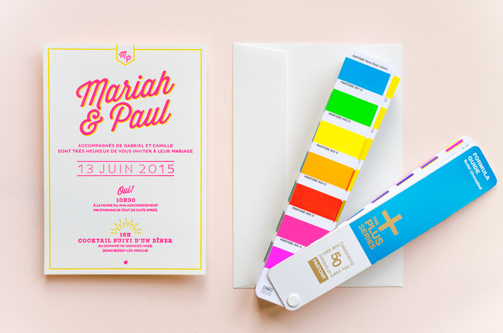 Faire-part de mariage Letterpress - Mariah & Paul
