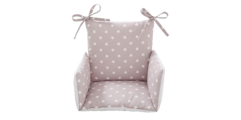 Coussin de chaise haute bébé Etoile rose