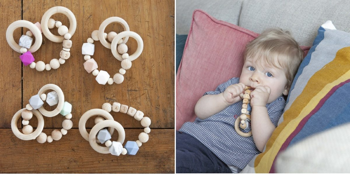 anneaux de dentitions en bois personnalisé